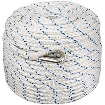 Norestar Double Braided Nylon Anchor Rope/Line with Thimble