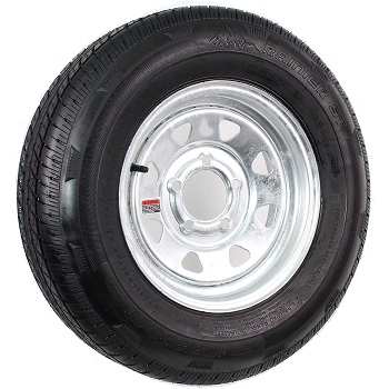 "Rainier ST Radial Trailer Tire on 13"" 5 Lug Galvanized Spoke"