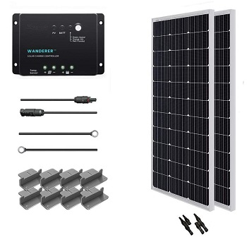 Renogy 200 Watt 12 Volt Solar Starter Kit with Wanderer